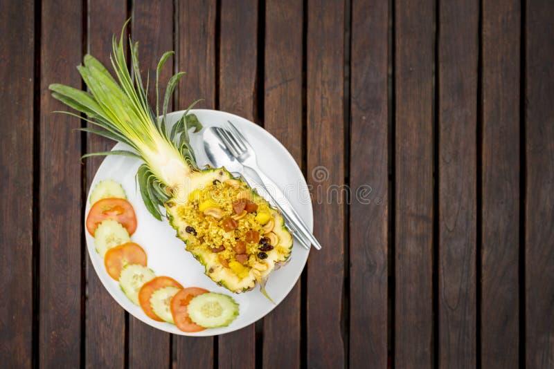 Hoogste mening, Gebakken rijst met ananas royalty-vrije stock afbeelding