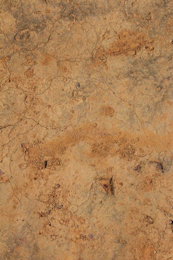 Hoogste mening Gebarsten modderpatroon, gemalen abstracte achtergrond stock foto's