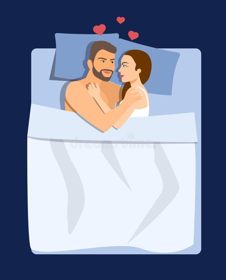Hoogste mening Gelukkig echtpaar die in bed liggen en onder witte deken verbergen vector illustratie