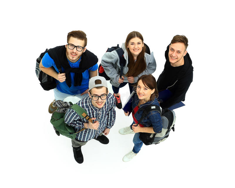 Hoogste mening Gelukkige glimlachende jonge groep royalty-vrije stock fotografie