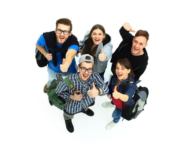 Hoogste mening Het gelukkige het glimlachen jonge groep kijken royalty-vrije stock afbeelding