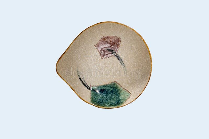 Hoogste mening-lege groene ceramische ronde die schotelplaat op witte achtergrond wordt geïsoleerd royalty-vrije stock fotografie