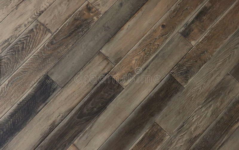Hoogste mening over een oude houten rustieke vloer Achtergrond en textuur stock foto's