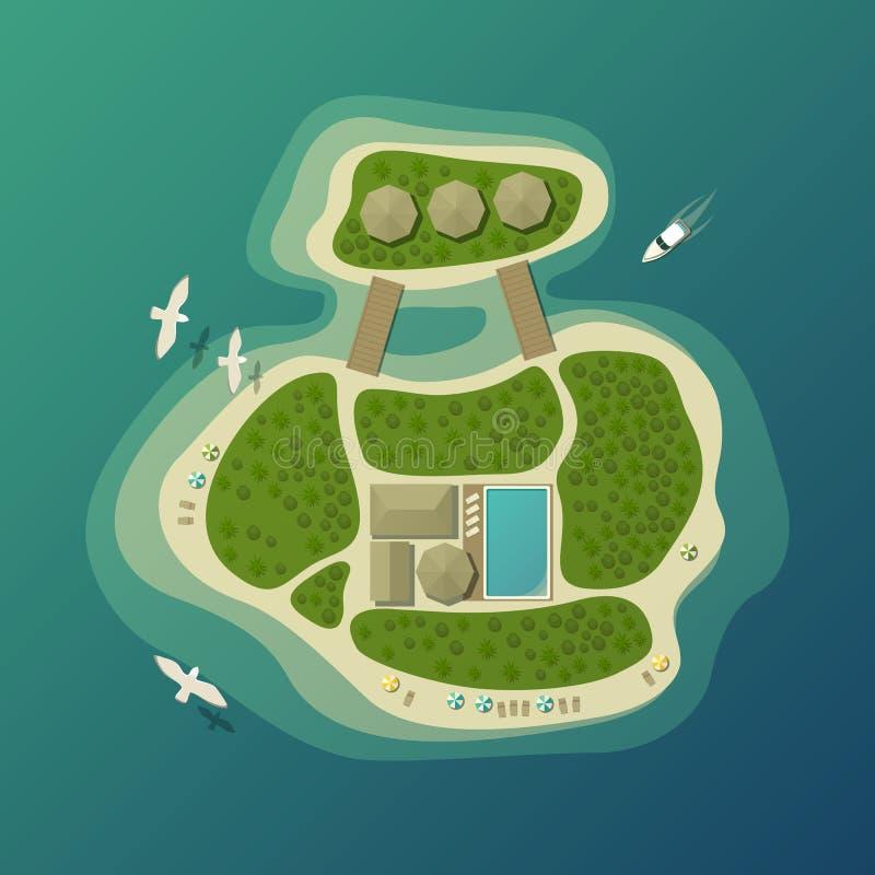 Hoogste mening over tropisch eiland of eiland met paraplu op zandstrand en bungalow met pool, bos of hout, boot of jacht stock illustratie
