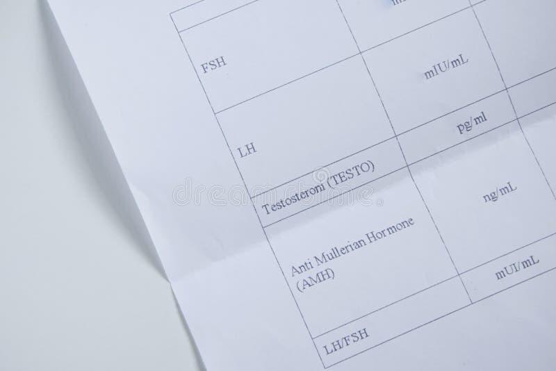 Hoogste mening van bloedonderzoekenlijst voor vrouwelijke hormonen/vruchtbaarheid stock afbeeldingen