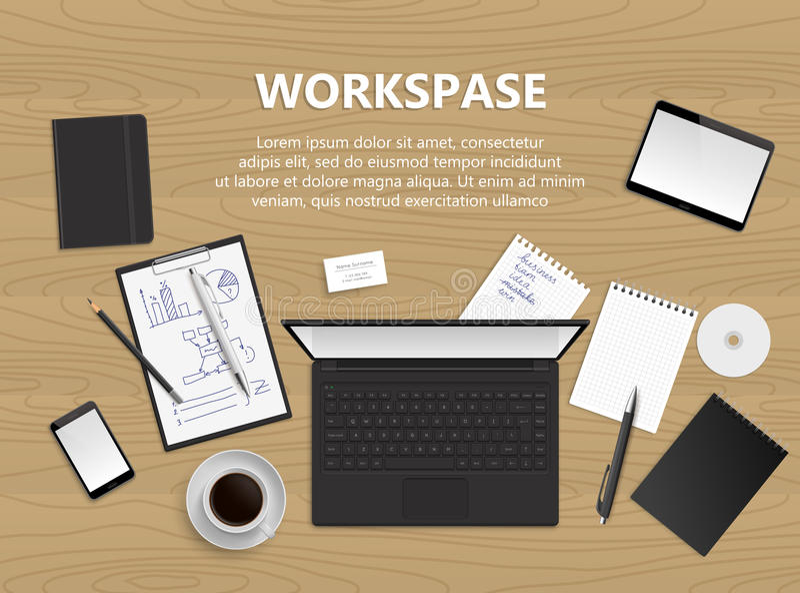 Hoogste mening van bureauachtergrond Werkruimteillustratie stock illustratie