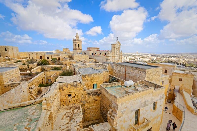 Hoogste mening van Citadel, IRL-Rabat, Malta stock fotografie