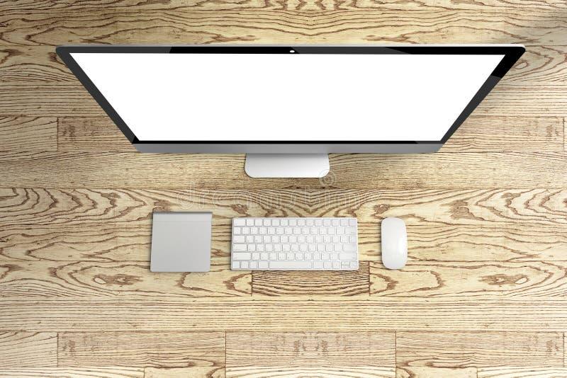 Hoogste mening van computer en toetsenbord, muis met het lege scherm op wo stock afbeelding