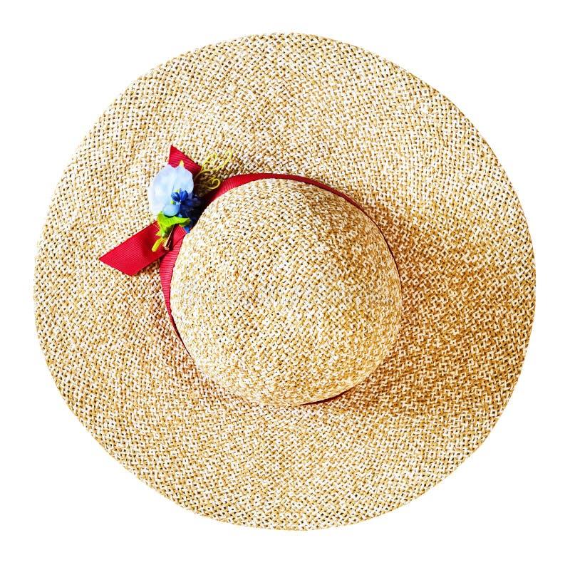 Hoogste mening van de brede hoed van het randstro die op wit wordt geïsoleerd royalty-vrije stock afbeeldingen