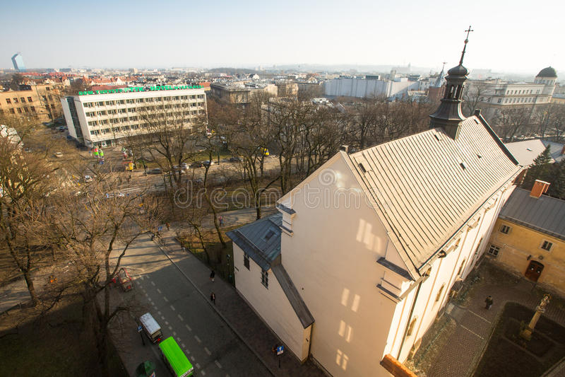 hoogste Mening van de daken van de oude stad in het centrum Het is tweede - grootste stad in Polen na Warshau stock afbeelding