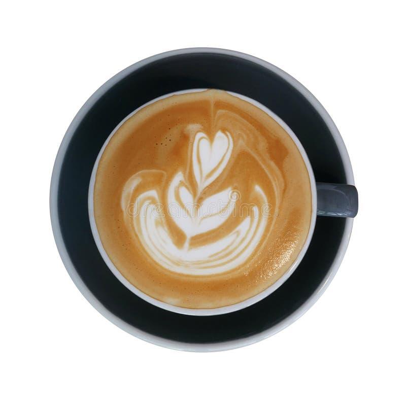 Hoogste mening van de hete kop van de koffie latte cappuccino op donkergrijze ceramisch stock afbeelding