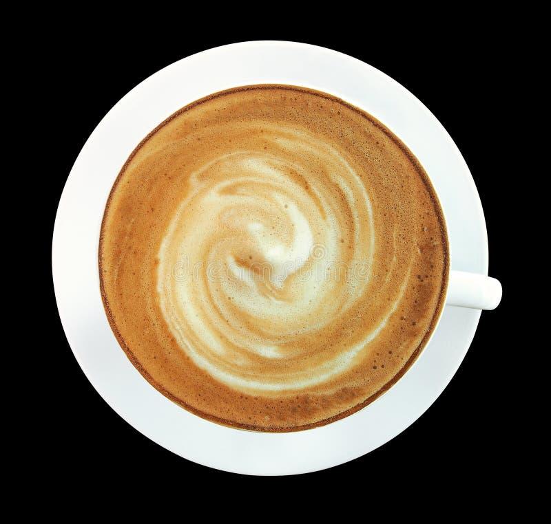 Hoogste mening van de hete kop van de koffiecappuccino met spiraalvormige isol van het melkschuim stock foto's