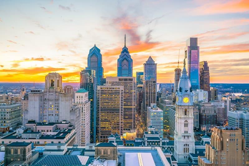 Hoogste mening van de horizon van de binnenstad Philadelphia de V.S. stock foto's