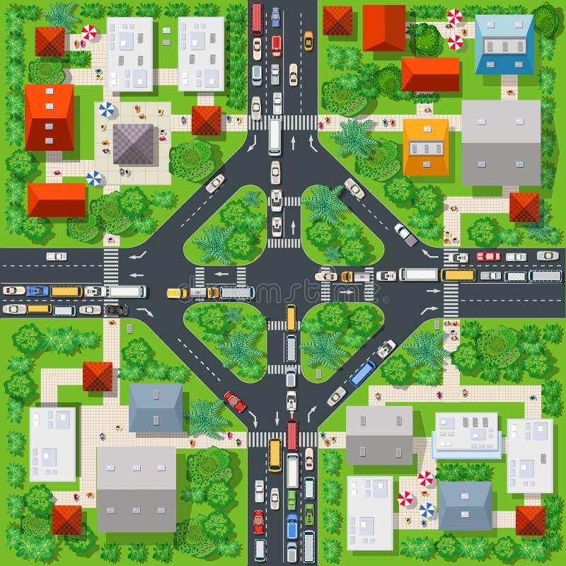 Hoogste mening van de kleurrijke stad stock illustratie