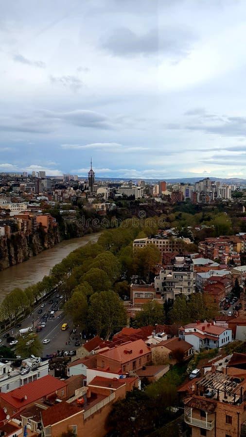 Hoogste mening van de oude stad van Tbilisi, Georgië stock foto's