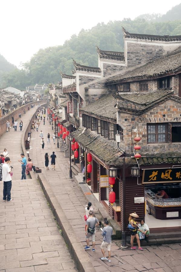 Hoogste mening van de oude stad van Fenghuang stock foto