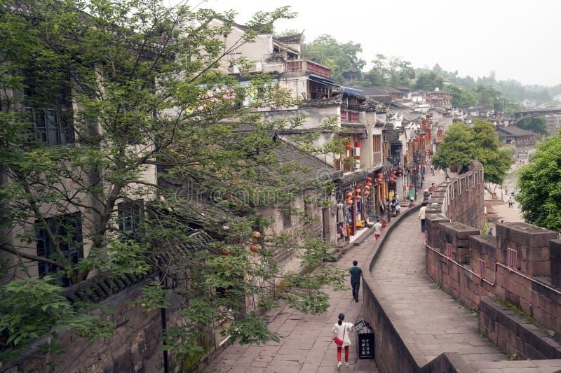 Hoogste mening van de oude stad van Fenghuang stock afbeeldingen
