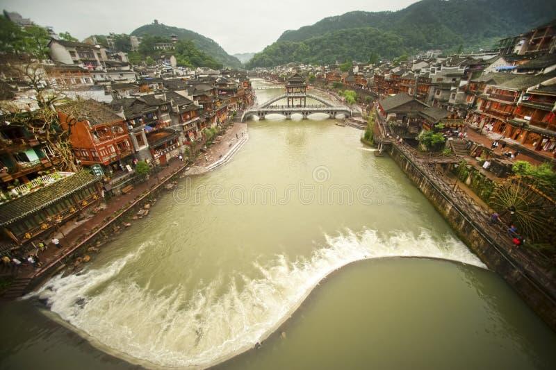 Hoogste mening van de oude stad van Fenghuang stock foto's