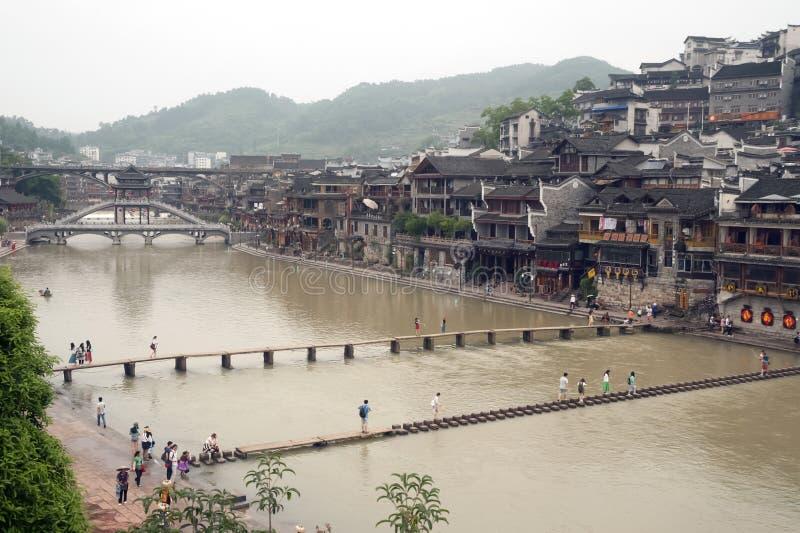 Hoogste mening van de oude stad van Fenghuang royalty-vrije stock foto's