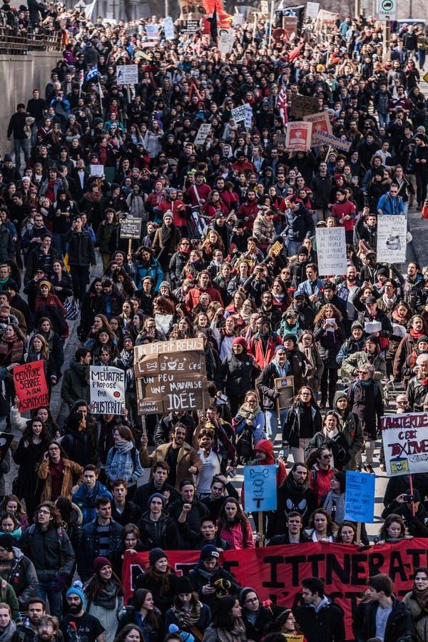 Hoogste Mening van de Protesteerders die in de Ingepakte Straten lopen royalty-vrije stock foto