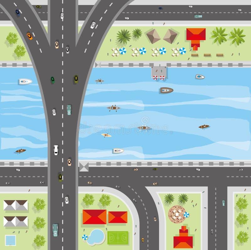 Hoogste mening van de stad van straten, wegen, huizen, treetop vector illustratie