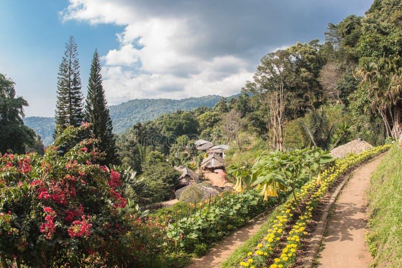 Hoogste mening van Doi Pui Mong Hill Tribe Village, Chiang Mai, Noordelijk Thailand stock afbeelding