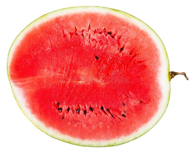 Hoogste mening van dwarsdoorsnede van rijpe watermeloen stock foto