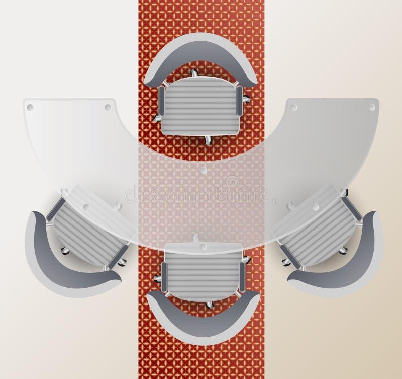 Hoogste mening van een conferentieruimte Halve ronde glaslijst, vier stoelentapijt met Arabisch patroon vector illustratie