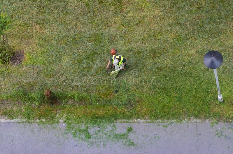 Hoogste mening van een scherp gras van de stadstuinarchitect met grasmaaimachine; royalty-vrije stock foto