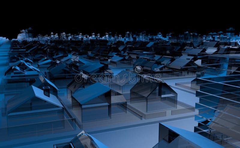 Hoogste mening van een stadshoogtepunt van blauwe transparante huizen en gebouwen met abstracte gebouwen op de horizon met zwarte stock illustratie