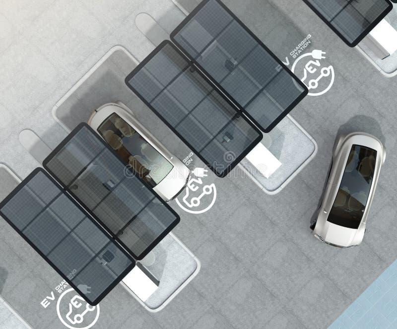 Hoogste mening van elektrisch voertuig het laden post stock illustratie
