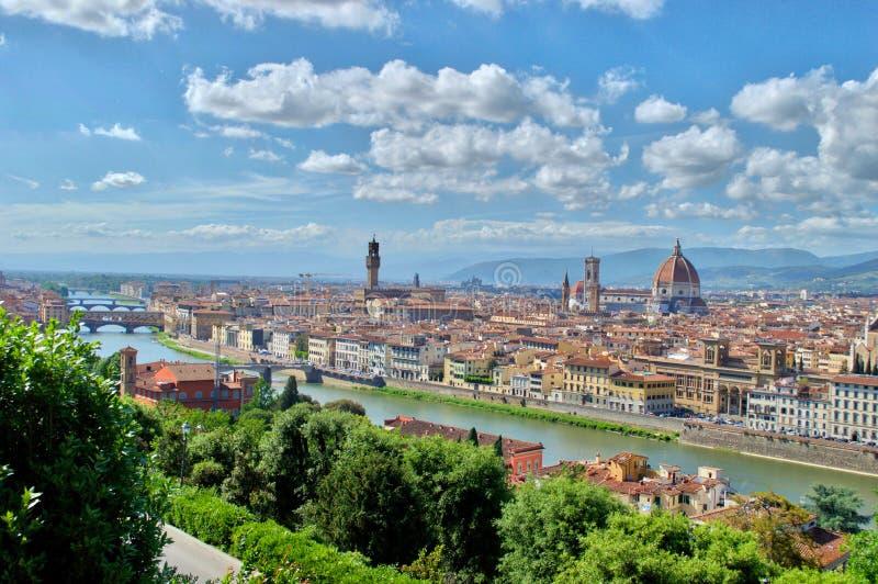 Hoogste mening van Florence, Arno, ponte vecchio stock fotografie