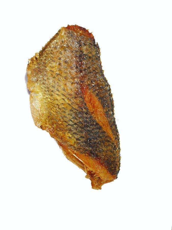 Hoogste mening van gebraden die vissen met vissensaus op witte achtergrond wordt geïsoleerd royalty-vrije stock afbeeldingen