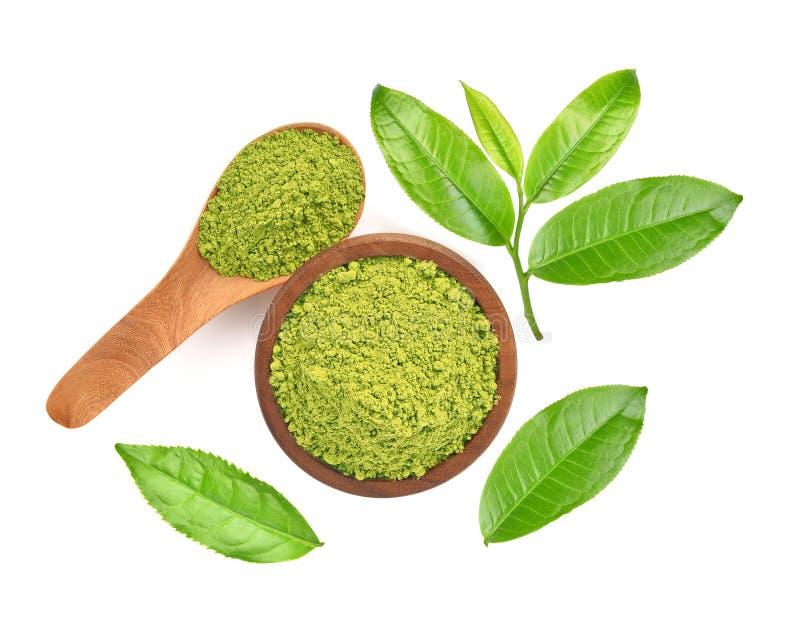 Hoogste mening van groen die theeblad op witte achtergrond wordt geïsoleerd stock foto