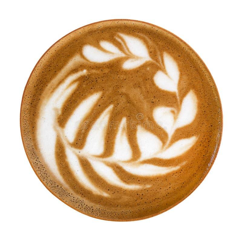 Hoogste mening van heet de kunstschuim van de koffiecappuccino latte die op witte achtergrond, weg wordt geïsoleerd royalty-vrije stock fotografie