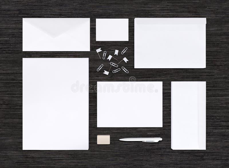 Hoogste mening van het brandmerken van identiteitsmodel en malplaatje op zwarte lijst royalty-vrije stock afbeeldingen