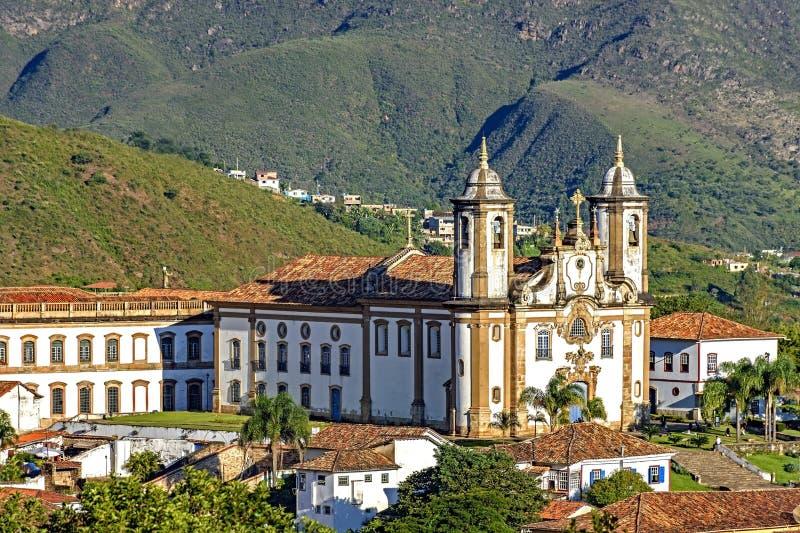 Hoogste mening van het centrum van de historische stad van Ouro Preto royalty-vrije stock foto
