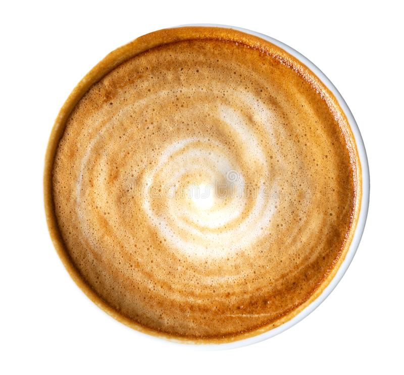 Hoogste mening van het hete spiraalvormige die schuim van de koffie latte cappuccino op witte achtergrond, weg wordt geïsoleerd royalty-vrije stock afbeeldingen