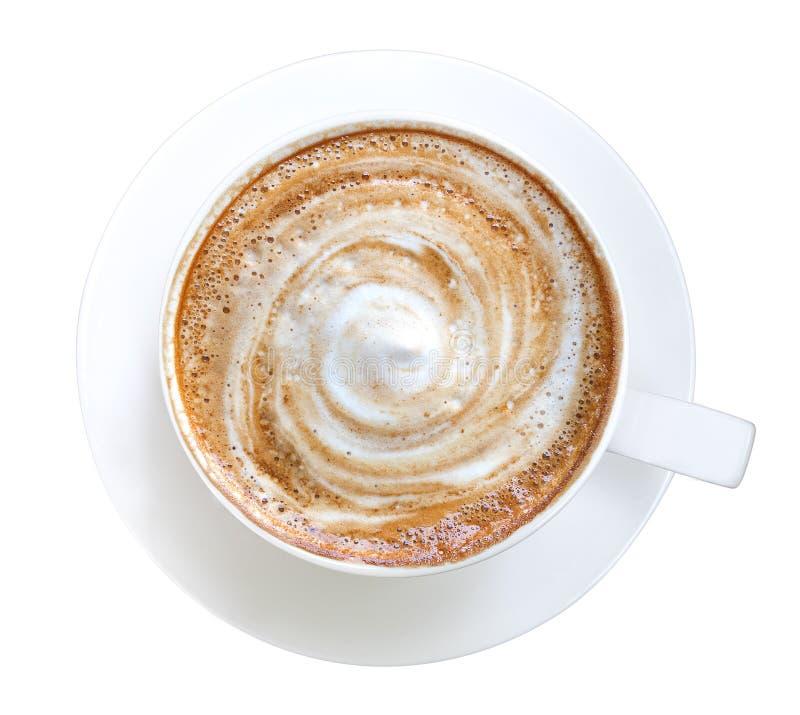 Hoogste mening van het hete spiraalvormige die schuim van de koffie latte cappuccino op witte achtergrond, weg wordt geïsoleerd stock afbeeldingen