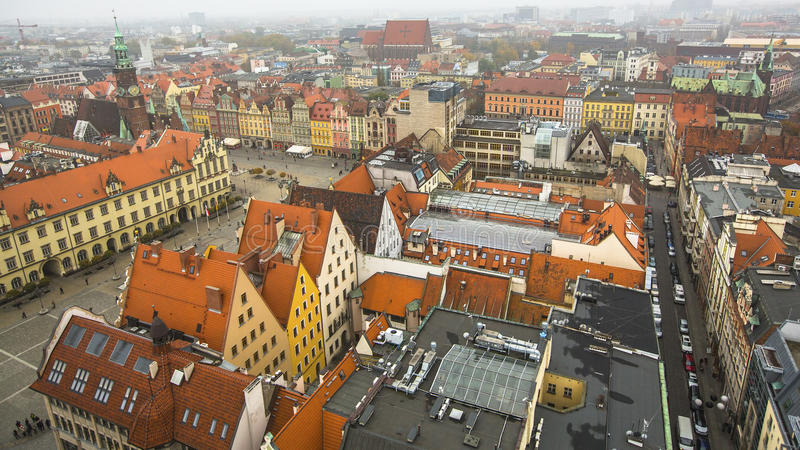 Hoogste mening van het historische centrum van Wroclaw stock foto's