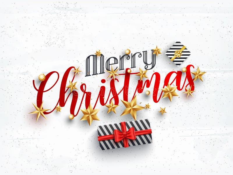 Hoogste Mening van het Modieuze van letters voorzien Vrolijke die Kerstmis met bau wordt verfraaid stock illustratie