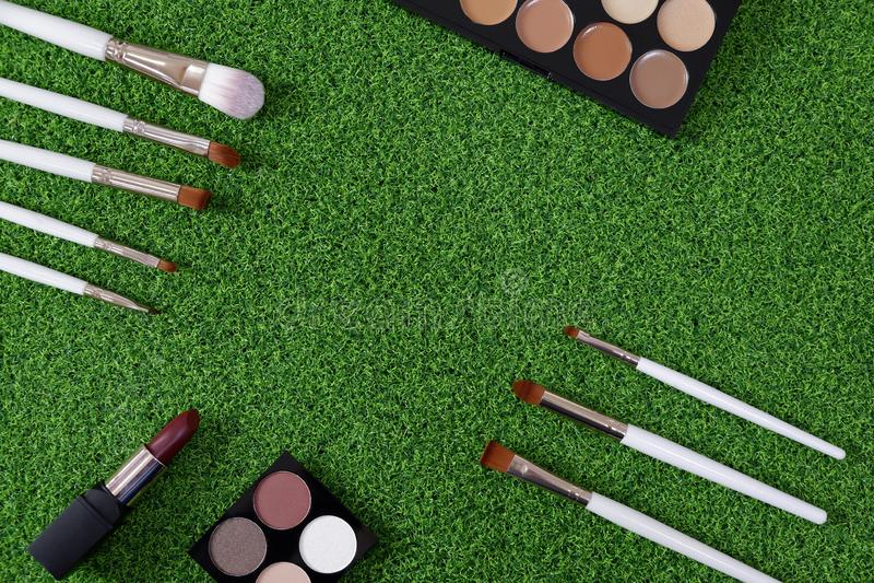 Hoogste mening van het schoonheidsmiddel van vrouwen op groene achtergrond stock afbeeldingen
