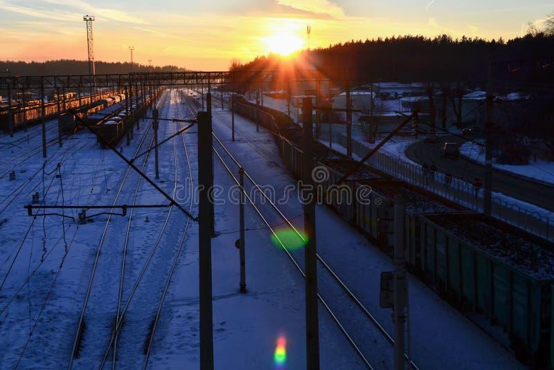 Hoogste mening van het spoorwegdepot met goederenwagonnen stock afbeelding