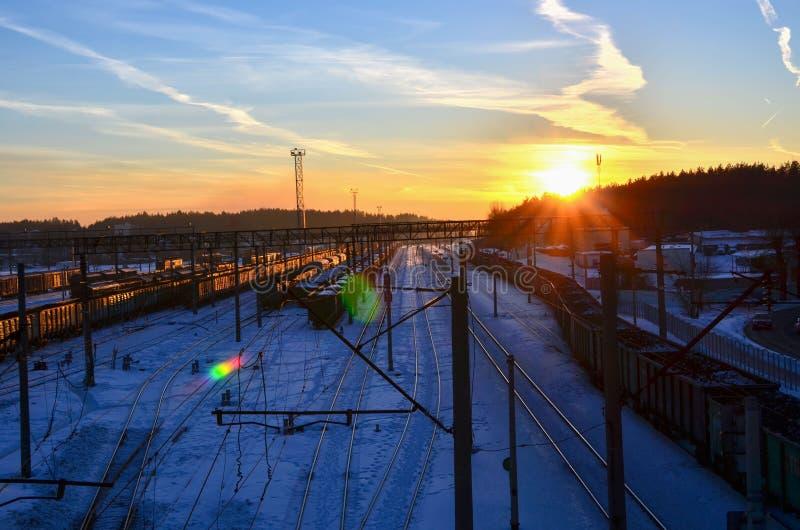 Hoogste mening van het spoorwegdepot met goederenwagonnen royalty-vrije stock afbeelding