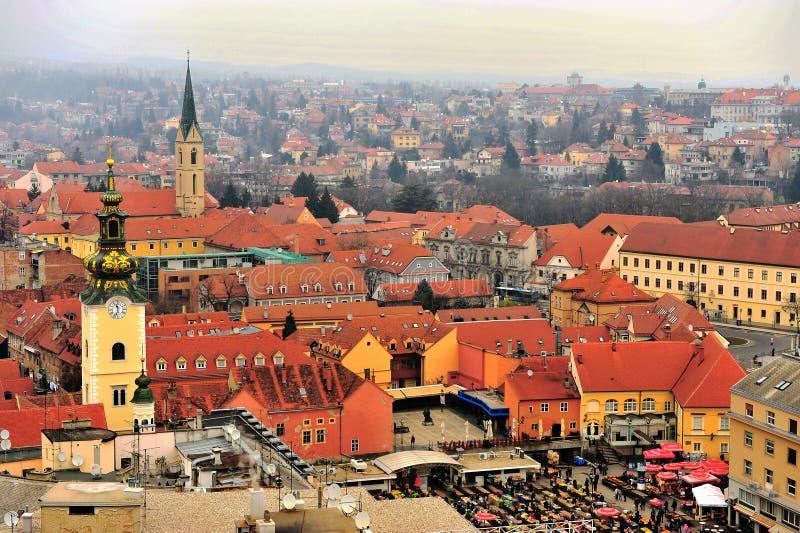 Hoogste mening van het stadscentrum van Zagreb royalty-vrije stock fotografie