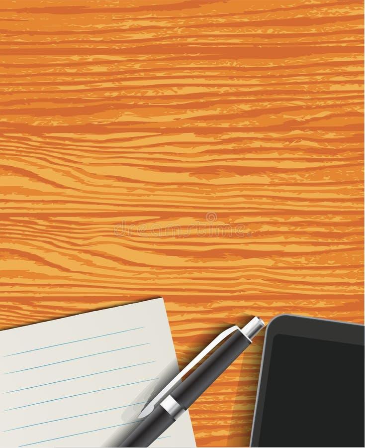 Hoogste mening van het Werkdesktop met document, pen en Smartphone-vector royalty-vrije illustratie