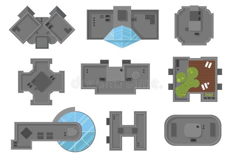 Hoogste mening van high-rise van het huizendak gebouwen en wolkenkrabbersillustratie, vectorreeks Een inzameling van architectura royalty-vrije illustratie
