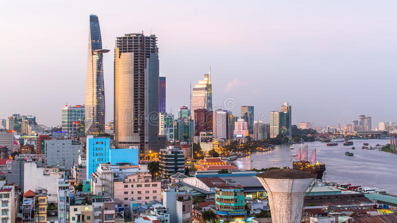 Hoogste mening van Ho Chi Minh City royalty-vrije stock foto's