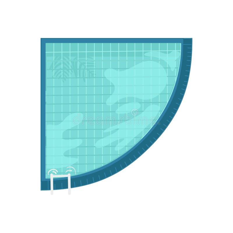 Hoogste mening van hoekig zwembad met blauw duidelijk water en bezinningen royalty-vrije illustratie