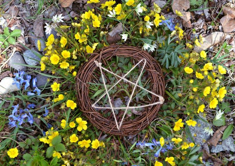 Hoogste mening van houten pentagram in gras en bloemen stock afbeeldingen